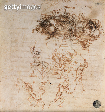 <b>Title</b> : Study for the Battle of Anghiari, 1504-5 (pen and ink) (see also 60399)<br><b>Medium</b> : pen and ink on paper<br><b>Location</b> : Galleria dell' Accademia, Venice, Italy<br> - gettyimageskorea