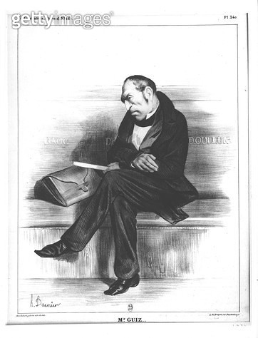 <b>Title</b> : Caricature of Francois Guizot (1787-1874), from 'Le Caricature' (litho) (b/w photo)<br><b>Medium</b> : lithograph<br><b>Location</b> : Bibliotheque Nationale, Paris, France<br> - gettyimageskorea