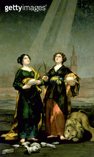 <b>Title</b> : St. Justa and St. Rufina, 1817 (oil on canvas)<br><b>Medium</b> : oil on canvas<br><b>Location</b> : Cathedral of S. Maria de la Asuncion, Seville, Spain<br> - gettyimageskorea