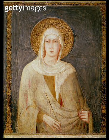 <b>Title</b> : Five Saints, detail of St. Clare (fresco)<br><b>Medium</b> : fresco<br><b>Location</b> : Basilica of St. Francis, Assisi, Italy<br> - gettyimageskorea