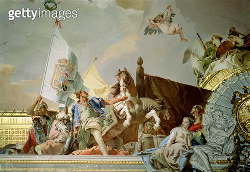 <b>Title</b> : The Glory of Spain I, from the Ceiling of the Throne Room, 1764 (fresco) (detail, see also 61758, 62096, 62340)<br><b>Medium</b> : <br><b>Location</b> : Palacio Real de Madrid, Spain<br> - gettyimageskorea