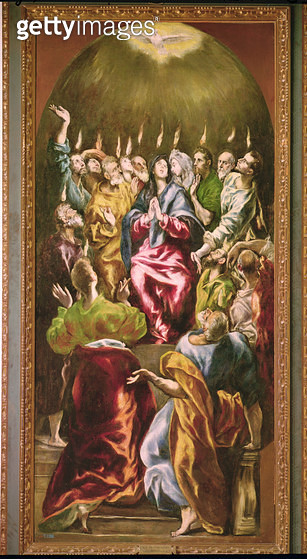 <b>Title</b> : The Pentecost, c.1604-14 (oil on canvas)<br><b>Medium</b> : oil on canvas<br><b>Location</b> : Prado, Madrid, Spain<br> - gettyimageskorea