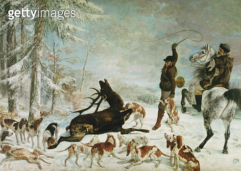 <b>Title</b> : The Death of the Deer, 1867 (oil on canvas)<br><b>Medium</b> : oil on canvas<br><b>Location</b> : Musee des Beaux-Arts et d'Archeologie, Besancon, France<br> - gettyimageskorea