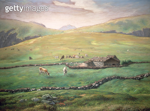 <b>Title</b> : Grazing in the Vosges (oil on canvas)Additional InfoPaturage dans les Montagnes des Vosges;<br><b>Medium</b> : <br><b>Location</b> : Private Collection<br> - gettyimageskorea