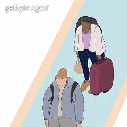 Women, fashionable, line, waiting, outdoor, trip, traveling, travel, suitcase, backpack, pastel, girls - gettyimageskorea