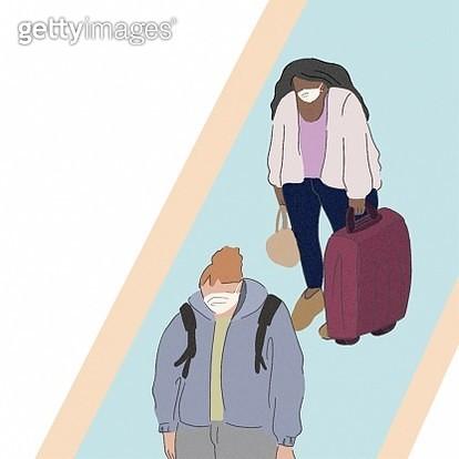 Airport, airports, waiting, line, lines, women, travel, traveling, travelers, coronavirus, virus, flu, sick, flu virus, pneumonia,fashionable, girl, trip, - gettyimageskorea