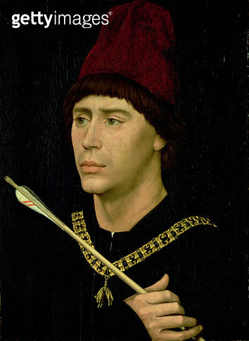 <b>Title</b> : Portrait of Antoine (1421/22-1504) bastard of Burgundy, Knight of the Order of the Golden Fleece, c.1456 (oil on panel)<br><b>Medium</b> : oil on panel<br><b>Location</b> : Musees Royaux des Beaux-Arts de Belgique, Brussels, Belgium<br> - gettyimageskorea