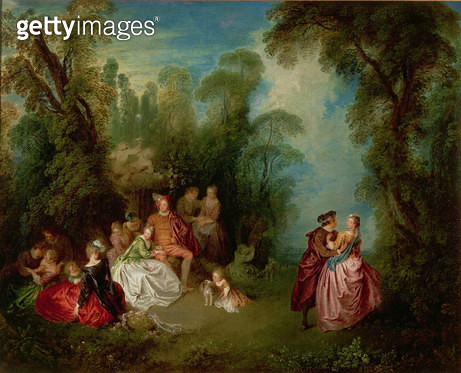 <b>Title</b> : Conversation Galante by a Fountain, 1720s (oil on canvas)<br><b>Medium</b> : oil on canvas<br><b>Location</b> : Wallace Collection, London, UK<br> - gettyimageskorea