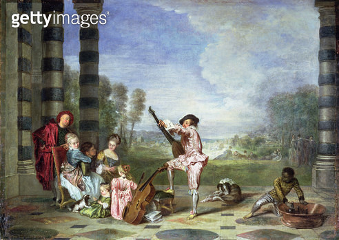 <b>Title</b> : The Music Party (Les Charmes de la Vie) c.1717-18 (oil on canvas)<br><b>Medium</b> : oil on canvas<br><b>Location</b> : Wallace Collection, London, UK<br> - gettyimageskorea
