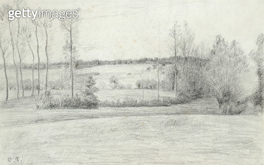 <b>Title</b> : Landscape with Trees, 1895-1900 (pencil on paper)<br><b>Medium</b> : pencil on paper<br><b>Location</b> : Private Collection<br> - gettyimageskorea