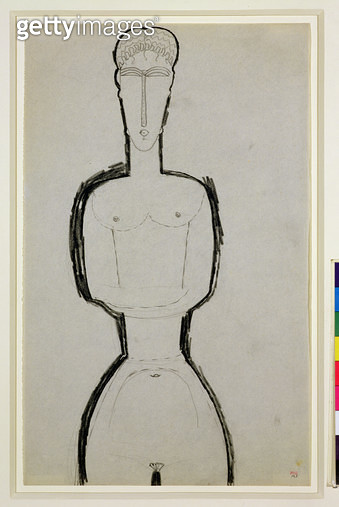 Female Nude/ c.1910-13 (black crayon on paper) - gettyimageskorea