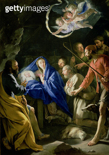 <b>Title</b> : The Adoration of the Shepherds, c.1648 (oil on canvas) (see also 61894)<br><b>Medium</b> : oil on canvas<br><b>Location</b> : Wallace Collection, London, UK<br> - gettyimageskorea
