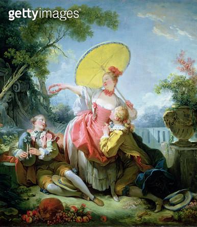 <b>Title</b> : The Musical Contest, c.1754-55 (oil on canvas) (detail of 62284)Additional InfoConversation galante dans un parc L'amoureux cour<br><b>Medium</b> : oil on canvas<br><b>Location</b> : Wallace Collection, London, UK<br> - gettyimageskorea