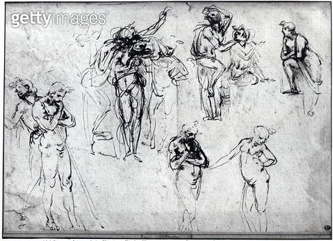 <b>Title</b> : Study of nude men (pen and ink on paper)<br><b>Medium</b> : pen and ink on paper<br><b>Location</b> : Ecole Nationale Superieure des Beaux-Arts, Paris, France<br> - gettyimageskorea