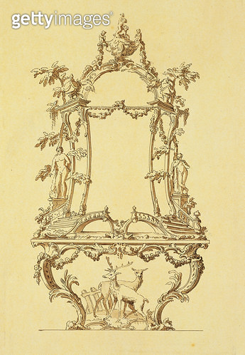 <b>Title</b> : Design for a Console Table (pen & ink wash)<br><b>Medium</b> : <br><b>Location</b> : Stapleton Collection, UK<br> - gettyimageskorea