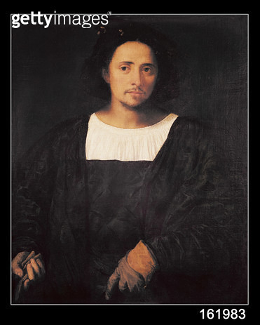 <b>Title</b> : Man with a Glove, 1517-20 (oil on canvas)<br><b>Medium</b> : oil on canvas<br><b>Location</b> : Musee Fesch, Ajaccio, Corsica, France<br> - gettyimageskorea