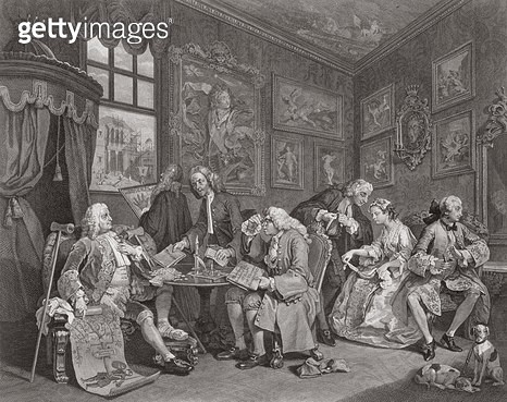 <b>Title</b> : Marriage a la Mode, Plate I, The Marriage Settlement, engraved by Bernard Baron (1696-1762) 1745 (engraving) (see also 62692)Add<br><b>Medium</b> : engraving<br><b>Location</b> : Whitworth Art Gallery, The University of Manchester, UK<br> - gettyimageskorea