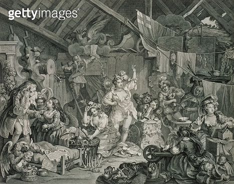 <b>Title</b> : Strolling Actresses Dressing in a Barn (etching and engraving)Additional Infopendant to the 'Times of the Day' series;<br><b>Medium</b> : etching and engraving<br><b>Location</b> : Whitworth Art Gallery, The University of Manchester, UK<br> - gettyimageskorea