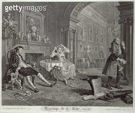 <b>Title</b> : Marriage a la Mode, Plate II, The Tete a Tete, engraved by Bernard Baron (1696-1762) 1745 (engraving) (see also 4395)Additional<br><b>Medium</b> : <br><b>Location</b> : Whitworth Art Gallery, The University of Manchester, UK<br> - gettyimageskorea