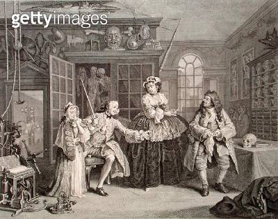 <b>Title</b> : Marriage a la Mode, Plate III, The Inspection, engraved by Bernard Baron (1696-1762) 1745 (engraving) (see also 62693)Additional<br><b>Medium</b> : engraving<br><b>Location</b> : Whitworth Art Gallery, The University of Manchester, UK<br> - gettyimageskorea
