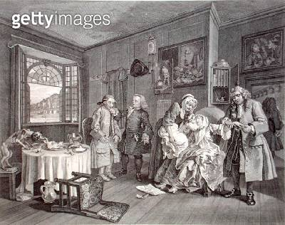 <b>Title</b> : Marriage a la Mode, Plate VI, The Lady's Death, engraved by Bernard Baron (1696-1762) 1745 (engraving)Additional Infooriginal in<br><b>Medium</b> : engraving<br><b>Location</b> : Whitworth Art Gallery, The University of Manchester, UK<br> - gettyimageskorea