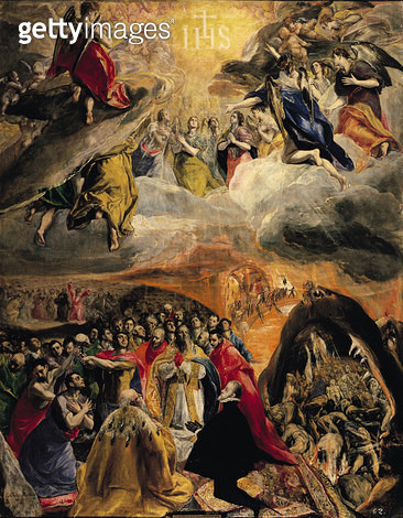 <b>Title</b> : The Adoration of the Name of Jesus, c.1578 (oil on canvas)<br><b>Medium</b> : oil on canvas<br><b>Location</b> : Monasterio de El Escorial, Spain<br> - gettyimageskorea