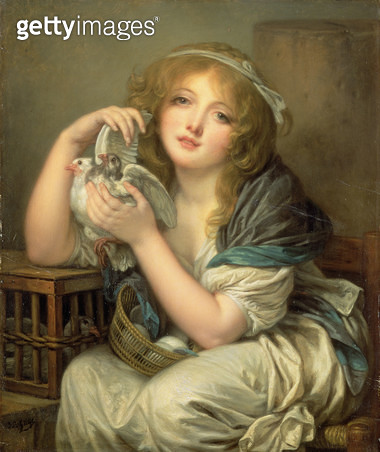 <b>Title</b> : Girl with Doves (L'Innocence tenant deux pigeons) 1799-1800 (oil on mahogany panel)<br><b>Medium</b> : oil on mahogany panel<br><b>Location</b> : Wallace Collection, London, UK<br> - gettyimageskorea