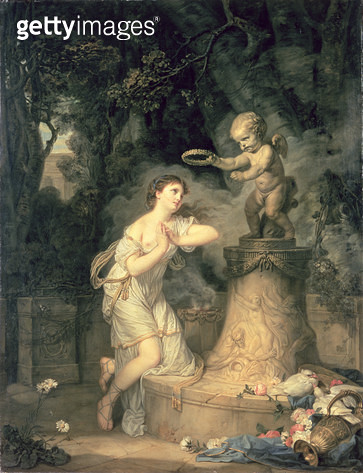 <b>Title</b> : Votive offering to Cupid, 1767 (oil on canvas)Additional InfoL'offrande a l'amour Une jeune fille qui fait sa priere au pied de<br><b>Medium</b> : oil on canvas<br><b>Location</b> : Wallace Collection, London, UK<br> - gettyimageskorea