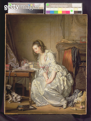 <b>Title</b> : The Broken Mirror, c.1762-63 (oil on canvas)Additional InfoLe malheur imprevu; yapping dog is a symbol of carnal desire; woman l<br><b>Medium</b> : oil on canvas<br><b>Location</b> : Wallace Collection, London, UK<br> - gettyimageskorea