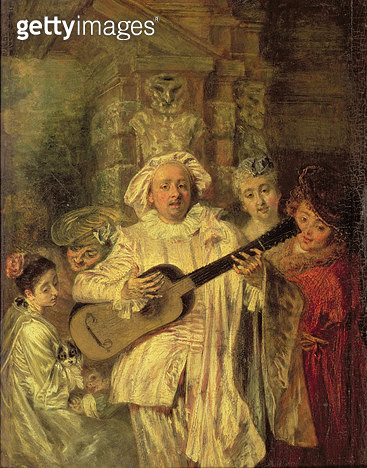 <b>Title</b> : Gilles and his Family, c.1716-18 (oil on walnut panel)Additional InfoSous un habit de Mezetin;<br><b>Medium</b> : oil on walnut panel<br><b>Location</b> : Wallace Collection, London, UK<br> - gettyimageskorea