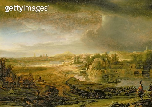 <b>Title</b> : Landscape with a Coach, c.1637 (oil on oak panel)<br><b>Medium</b> : oil on oak panel<br><b>Location</b> : Wallace Collection, London, UK<br> - gettyimageskorea