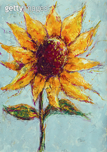 Acrylic painting a single yellow sunflower on paper. Painting done by me - gettyimageskorea