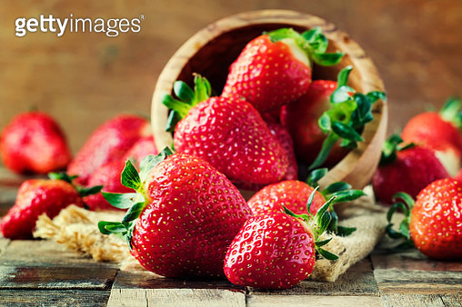 Fresh Red Strawberry, Vintage Wooden Background, Selective Focus - gettyimageskorea