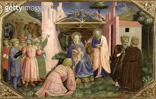 <b>Title</b> : Adoration of the Magi, from the predella of the Annunciation Altarpiece, c.1430-32 (tempera & gold on panel)<br><b>Medium</b> : tempera and gold on panel<br><b>Location</b> : Prado, Madrid, Spain<br> - gettyimageskorea
