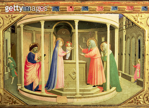 <b>Title</b> : The Presentation in the Temple, from the predella of the Annunciation Altarpiece (tempera and gold on canvas)<br><b>Medium</b> : tempera and gold on panel<br><b>Location</b> : Prado, Madrid, Spain<br> - gettyimageskorea