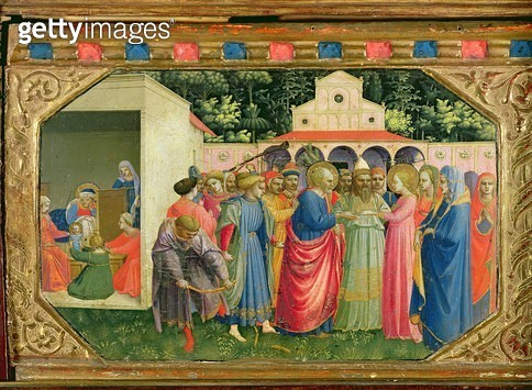 <b>Title</b> : The Birth and Marriage of the Virgin, from the predella of the Annunciation altarpiece, c.1430-32 (tempera and gold on panel)Add<br><b>Medium</b> : tempera and gold on panel<br><b>Location</b> : Prado, Madrid, Spain<br> - gettyimageskorea