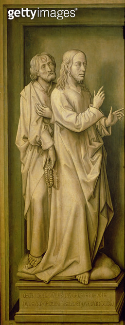 <b>Title</b> : Christ and a Disciple, from the Redemption Triptych, 1455-59 (oil on panel)Additional InfoLe Tribut du a Cesar;<br><b>Medium</b> : oil on panel<br><b>Location</b> : Prado, Madrid, Spain<br> - gettyimageskorea