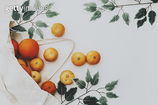 orange and nectarine fruit in shopping bag.Top view - gettyimageskorea