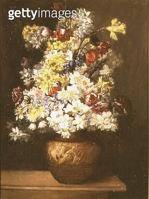Still Life of Spring Flowers in a Classical Urn - gettyimageskorea