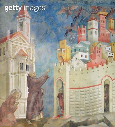 <b>Title</b> : The Expulsion of the Devils from Arezzo, 1297-99 (fresco)<br><b>Medium</b> : fresco<br><b>Location</b> : San Francesco, Upper Church, Assisi, Italy<br> - gettyimageskorea