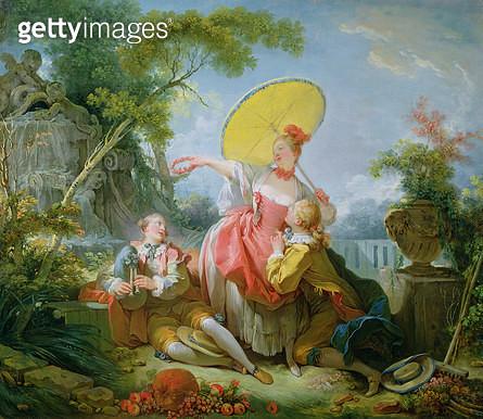 <b>Title</b> : The Musical Contest, c.1754-55 (oil on canvas)Additional InfoConversation galante dans un Parc L'Amoureux Couronne;<br><b>Medium</b> : oil on canvas<br><b>Location</b> : Wallace Collection, London, UK<br> - gettyimageskorea