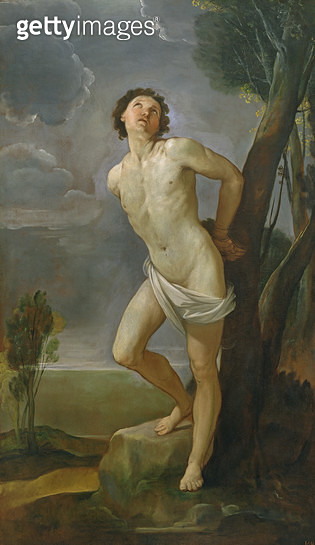 <b>Title</b> : St. Sebastian (oil on canvas)Additional Infoordered to be shot to death with arrows by Diocletian;<br><b>Medium</b> : oil on canvas<br><b>Location</b> : Pinacoteca Nazionale, Bologna, Italy<br> - gettyimageskorea