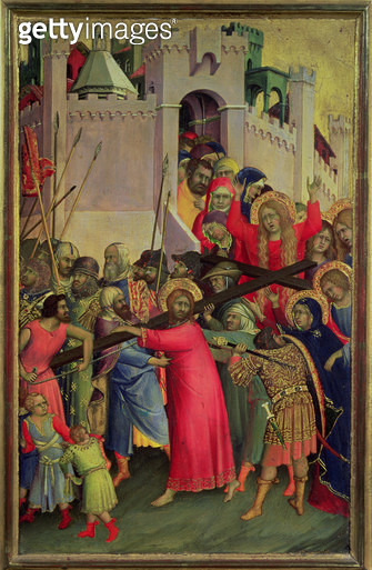 <b>Title</b> : Road to Calvary (tempera and gold leaf on panel)<br><b>Medium</b> : tempera and gold leaf on panel<br><b>Location</b> : Louvre, Paris, France<br> - gettyimageskorea