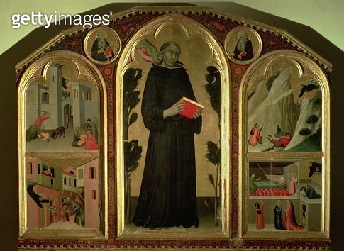 <b>Title</b> : The Blessed Agostino Novello Altarpiece, with four of his miracles, c.1328 (oil on panel)<br><b>Medium</b> : oil on panel<br><b>Location</b> : St. Agostino Novello, Siena, Italy<br> - gettyimageskorea