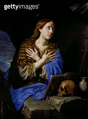 <b>Title</b> : The Penitent Magdalene, 1657 (oil on canvas)<br><b>Medium</b> : oil on canvas<br><b>Location</b> : Musee des Beaux-Arts, Rennes, France<br> - gettyimageskorea