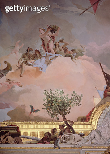 <b>Title</b> : The Glory of Spain IV, from the Ceiling of the Throne Room, 1764 (fresco) (detail, see also 61757, 61758, 62096)<br><b>Medium</b> : fresco<br><b>Location</b> : Palacio Real de Madrid, Spain<br> - gettyimageskorea
