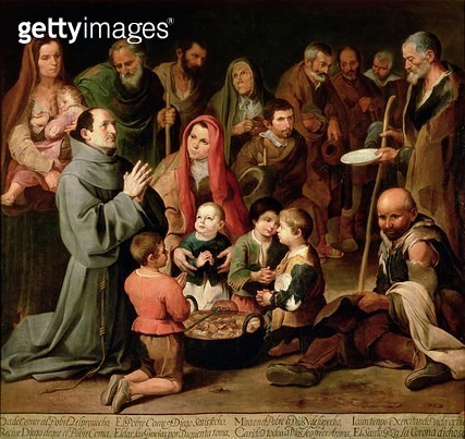 <b>Title</b> : St. Diego of Alcala Giving Food to the Poor, 1645-46 (oil on canvas)<br><b>Medium</b> : oil on canvas<br><b>Location</b> : Real Academia de Bellas Artes de San Fernando, Madrid, Spain<br> - gettyimageskorea