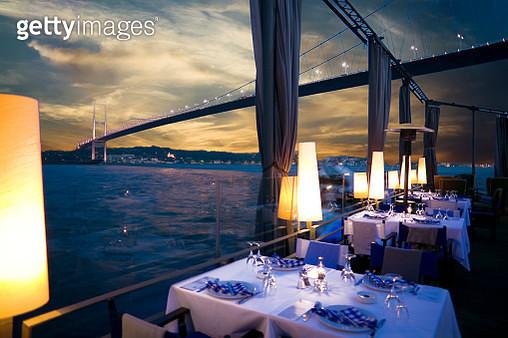 Luxurious restaurant and nightclub in Bosporus Istanbul Turkey - gettyimageskorea