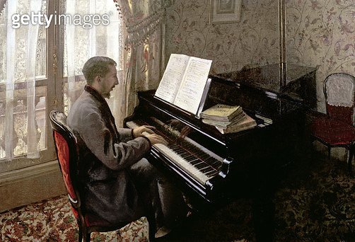 <b>Title</b> : Young Man Playing the Piano, 1876 (oil on canvas)Additional InfoJeune Homme Jouant du Piano;<br><b>Medium</b> : oil on canvas<br><b>Location</b> : Private Collection<br> - gettyimageskorea