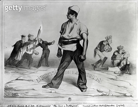 <b>Title</b> : Freedom of the Press, illustration from 'L'Association Mensuelle', 1834 (litho) (b/w photo)<br><b>Medium</b> : lithograph<br><b>Location</b> : Bibliotheque Nationale, Paris, France<br> - gettyimageskorea